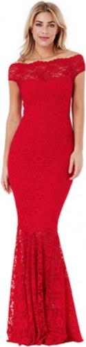 353e22a531d8 Dlhé čipkované spoločenské bardot šaty - červené LC61481-3 - Glami.sk