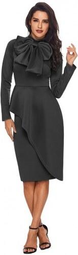 91a19a6b7db5 Dámske tmavošedé volánové šaty s mašľou pri krku LC61826-11 - Glami.sk