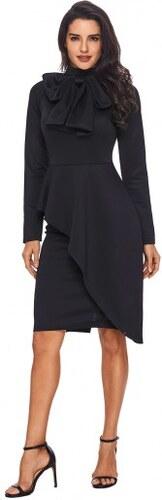 9aa125eecb0c Dámske čierne volánové šaty s mašľou pri krku LC61826-2 - Glami.sk