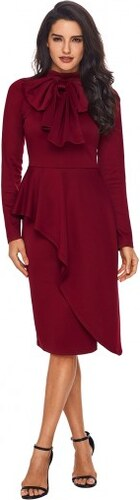 281a7d516483 Dámske červené volánové šaty s mašľou pri krku LC61826-3 - Glami.sk