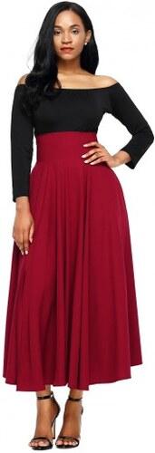 501fcfcd0a7 Jersey červená sukňa s vreckami a s vysokým pásom LC65053-3 - Glami.sk