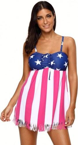 973081244e56 Plavkové šaty so vzorom americkej vlajky LC410326 - Glami.sk