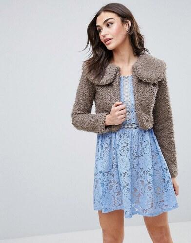 67a29a130bb QED London Teddy Faux Fur Jacket - Brown - Glami.cz