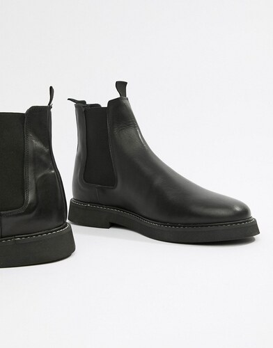 ASOS DESIGN chelsea boots in black leather with chunky sole - Black ... b8ceb6c8105