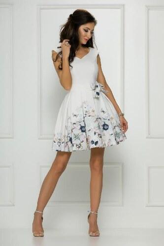 588270a3953 Elegantní šaty Tamara bílé s květy a motýly 34 - Glami.cz