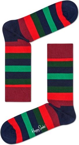 Červeno-zelené pruhované ponožky Happy Socks 556145d602