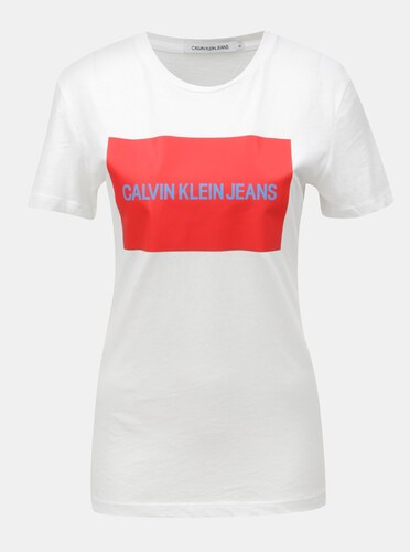 a9582231295 Bílé dámské tričko s potiskem Calvin Klein Jeans - Glami.cz