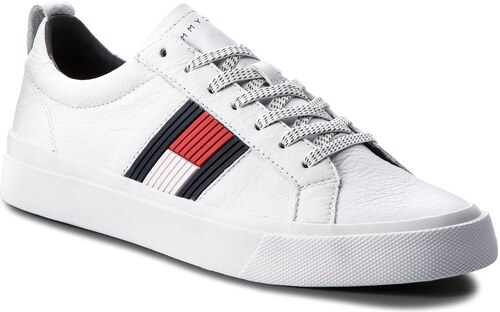15bec224d13b Sneakersy TOMMY HILFIGER - Flag Detail Leather Sneaker FM0FM01712 White 100