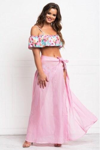 f94e6aecd933 Dlhá ružová priesvitná plážová zavinovacia sukňa LC42275-1010 - Glami.sk