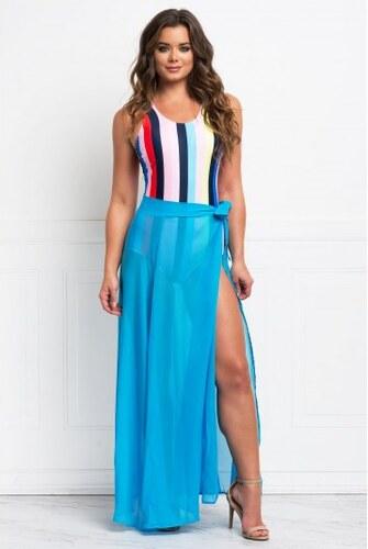 9074563b8f2e Dlhá modrá priesvitná plážová zavinovacia sukňa LC42275-4 - Glami.sk