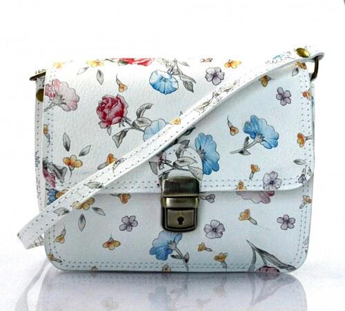 f1b6fd826c ... Kožená bílá květinová crossbody kabelka na rameno cailee VERA PELLE  21986