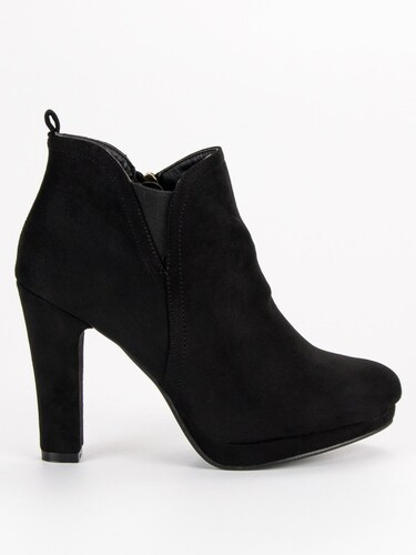 MILUJEME BOTY Elegantní černé kotníkové boty na podpatku - Glami.cz 084244a9a9