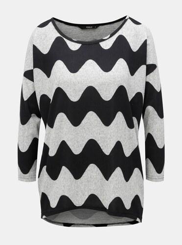 c3a4d0a7f557 Sivé vzorované voľné tričko s 3 4 rukávom ONLY Elcos - Glami.sk