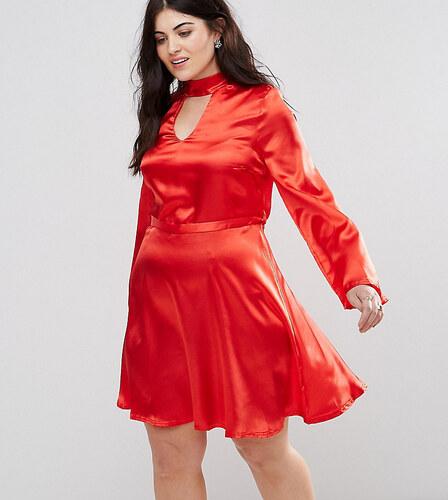 703a565ffd65 Club L London Plus Club L Plus Satin Choker Skater Dress - Red ...