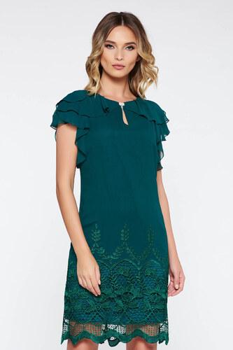 StarShinerS Sötétzöld alkalmi bő szabású ruha belső béléssel csipke  díszítéssel fodros lenge anyagból a527544a9f
