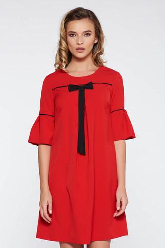 52375cbaa9 StarShinerS Piros elegáns bő szabású ruha enyhén rugalmas szövet harang  ujjakkal