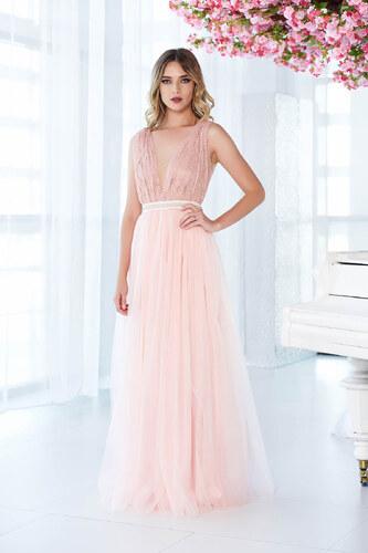Rózsaszínű StarShinerS ruha alkalmi tüll csipkés anyagból gyöngyös díszítés  harang dc63b49060