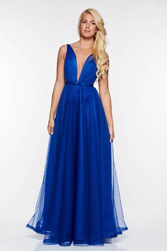 Kék StarShinerS alkalmi tűll ruha masni díszítéssel v-dekoltázzsal ... 96a44fd7c6