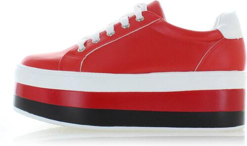 Ideal Červené platformové tenisky Nollie - Glami.sk 6cd2f916380