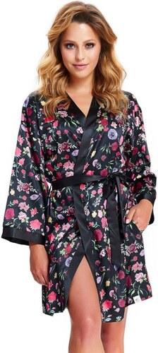 DN Nightwear Exkluzív női szatén fürdőköpeny Laura fekete virágos ... 272a9f5586