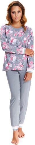 DN Nightwear Női pamut pizsama Blossom szürke rózsás - Glami.hu fd88660f3f