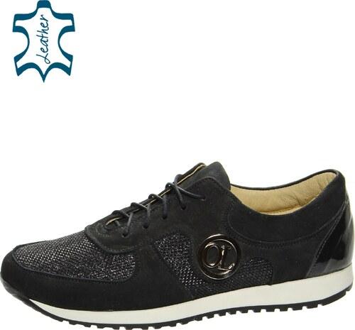 601765f54e1 OLIVIA SHOES Čierne kožené tenisky s odleskami K894 - Glami.sk