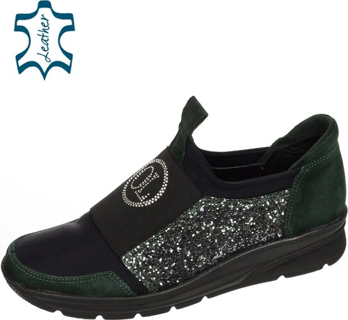 62a2b79080 OLIVIA SHOES Čierno- zelené trblietavé slip-on tenisky s kryštálikmi B745