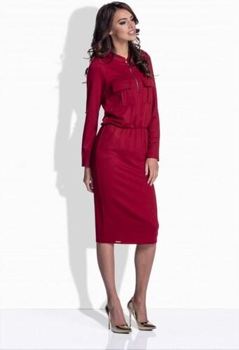 e33f8c3e6425 Lemoniade Bordové bavlnené šaty so zipsom 160 - Glami.sk