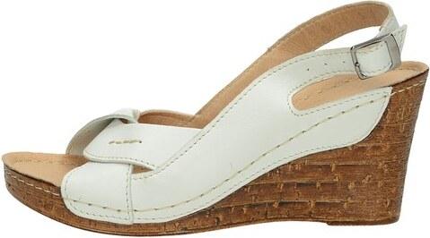 Pollonus dámske kožené sandále na klinovej podrážke - biele - Glami.sk 9dfbb647c0a