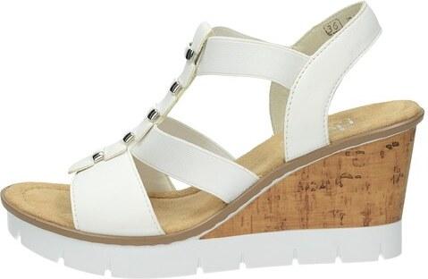 6fb0393382ac Rieker dámske elegantné sandále na klinovej podrážke - biele - Glami.sk