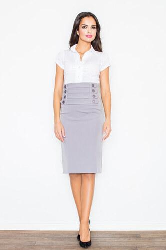 ca0f845e84ef FIGL Sivá puzdrová sukňa s vysokým pásom M036 - Glami.sk
