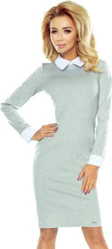 7b8f0587fb8f Numoco Sivé dámske šaty s bielym golierom 143-4 - Glami.sk