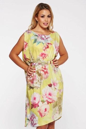 Sárga StarShinerS elegáns bő szabású ruha szatén anyagból virágmintás  díszítéssel övvel ellátva e524fbeb34
