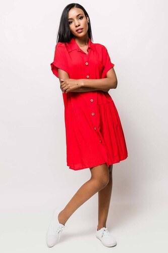 10eed1a857ec Rouzit Červené košeľové midi šaty s krátkym rukávom