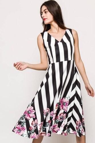Rouzit Čierno-biele pruhované letné šaty s kvetinovým vzorom - Glami.sk 5983bda9609