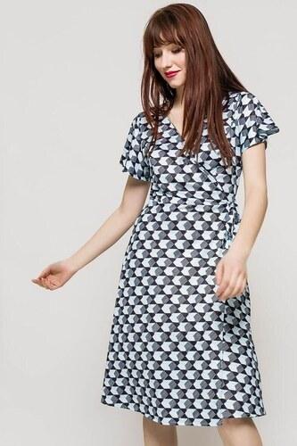 0f61c3d984ba Rouzit Modro-čierne vzorované midi šaty s véčkovým výstrihom - Glami.sk