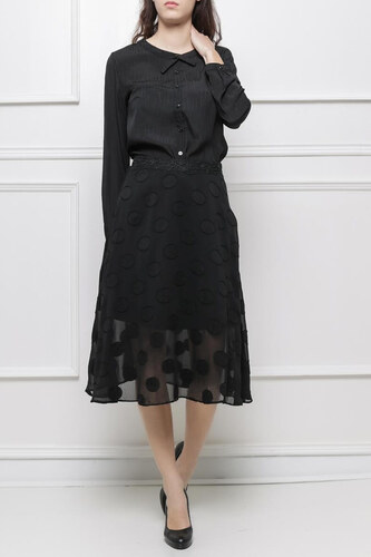 28d5a7d875a9 Rouzit Dámska čierna sukňa s guličkovým vzorom - Glami.sk