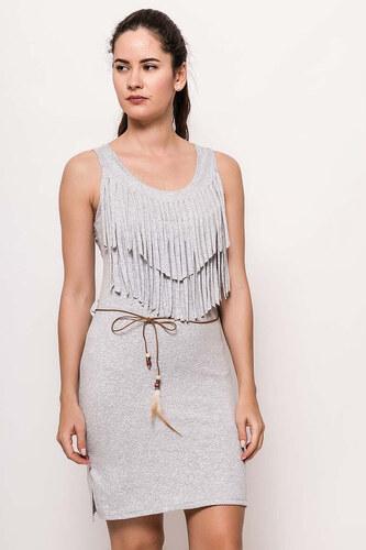 Rouzit Dámske sivé mini šaty so strapcami - Glami.sk 5c708d67178