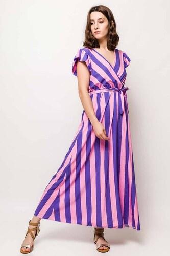 Rouzit Dlhé fialovo-ružové šaty s pruhovaným vzorom - Glami.sk 32377960405