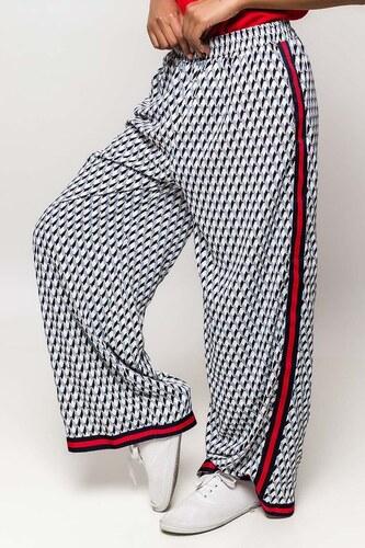 12bc8b7a7a81 Rouzit Modré vzorované dámske nohavice s pásikom - Glami.sk