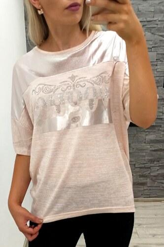 25769e93fd2a GIYAS Dámské růžové tričko Vogue s kamínky - Glami.cz