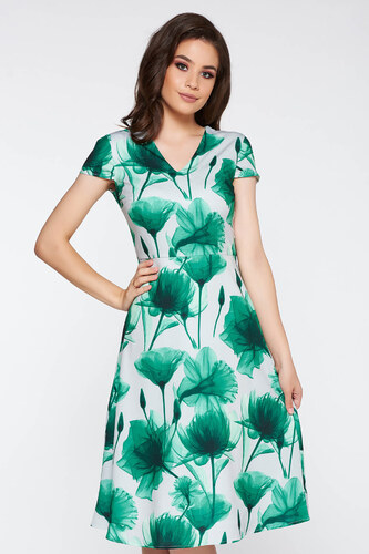 404cadebe2 StarShinerS Zöld elegáns harang ruha enyhén rugalmas anyag virágmintás  díszítéssel v-dekoltázzsal