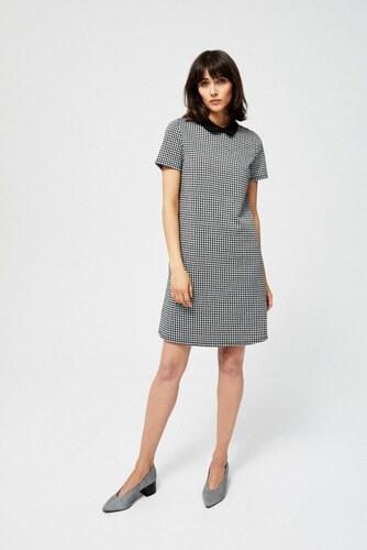 a7f5c79aa89 Moodo šaty dámské se vzorem kostky krátkým rukávem a límečkem - Glami.cz