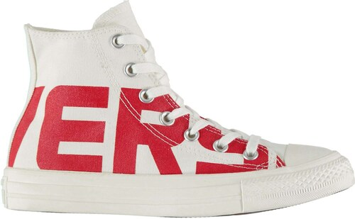 e6649435d41 boty Converse Hi Top Wordmark Canvas White Red - Glami.cz