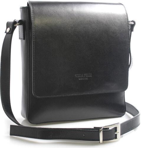 Italy Kabelky s dlouhým popruhem Luxusní černá kožená taška přes rameno  Crosby Italy 9bb76295548