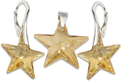 fbedf92ad GM Collection Strieborný set s krištáľmi Swarovski Star Golden Shadow 496504