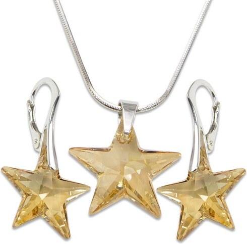 GM Collection Strieborná sada s krištáľmi Swarovski Star Golden Shadow  496505 42 cm e01902b6a99