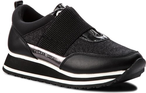 Sneakersy TOMMY HILFIGER - Elastic Retro Runner FW0FW03336 Black 990 ... 68227be3d4
