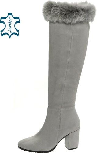 135b32ec5e Sivé kožené čižmy s pravou kožušinkou K978 - OLIVIA SHOES - Glami.sk