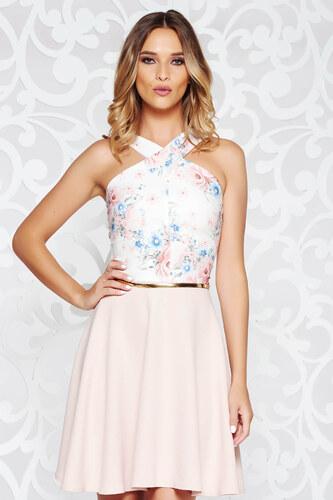 f3ac514cc5 StarShinerS Rózsaszínű ruha elegáns harang enyhén rugalmas szövet öv típusú  kiegészítővel